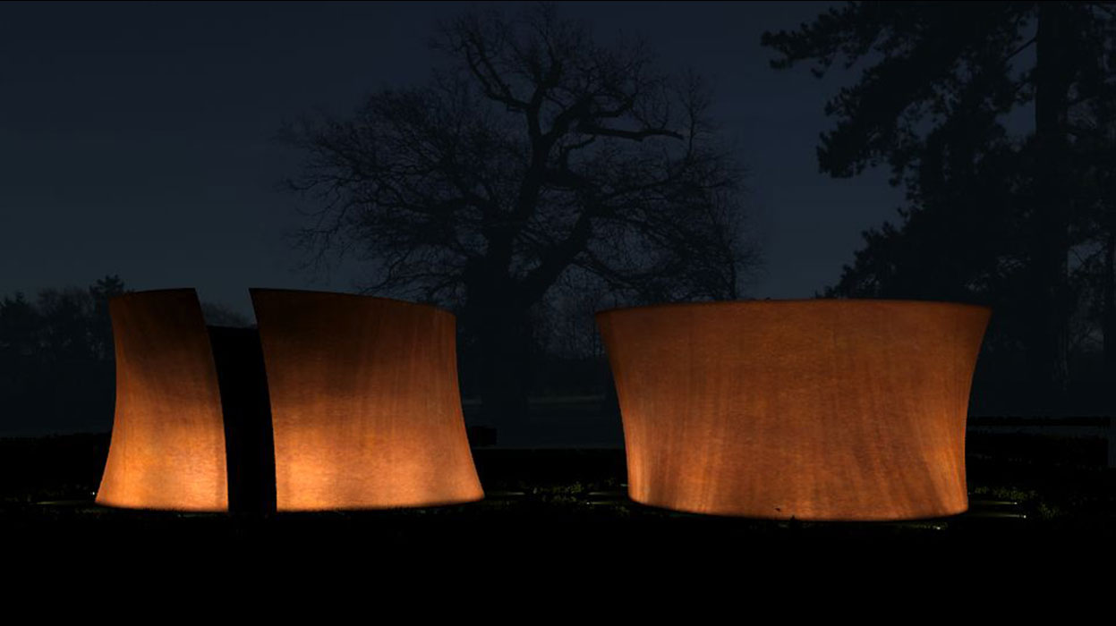 Richard Serra sculpture lighting at Berrydown House
