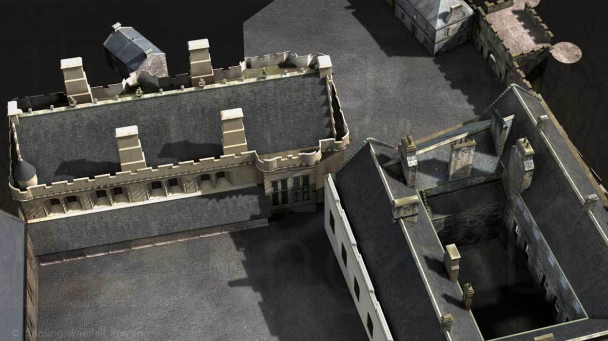 Aerial view of Stirling Castle model