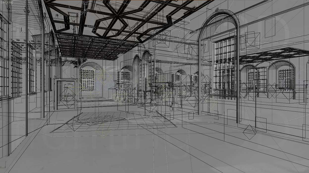 Wireframe of King's Outer Hall